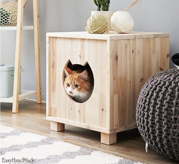 Домик для кошки из дерева и фанеры