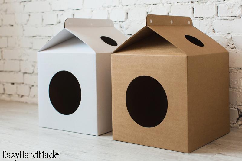 Как сделать кошачий домик из картона