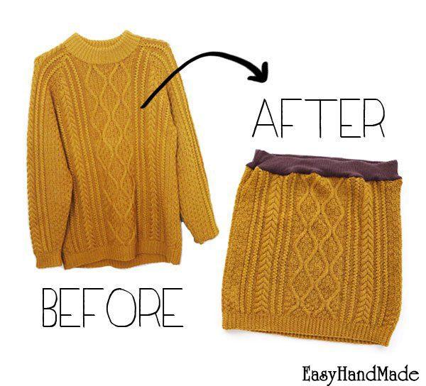 Как сшить юбку из старого свитера