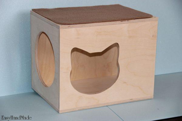 Кошачий домик из фанеры