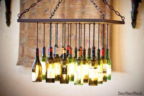 Люстра своими руками из винных бутылок