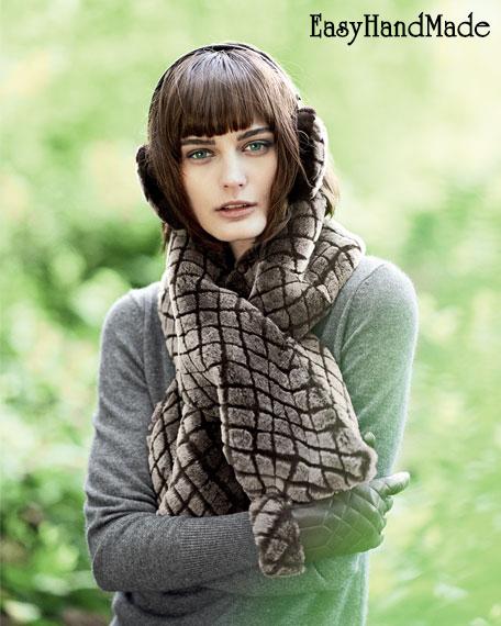 Меховый стеганый шарф своими руками