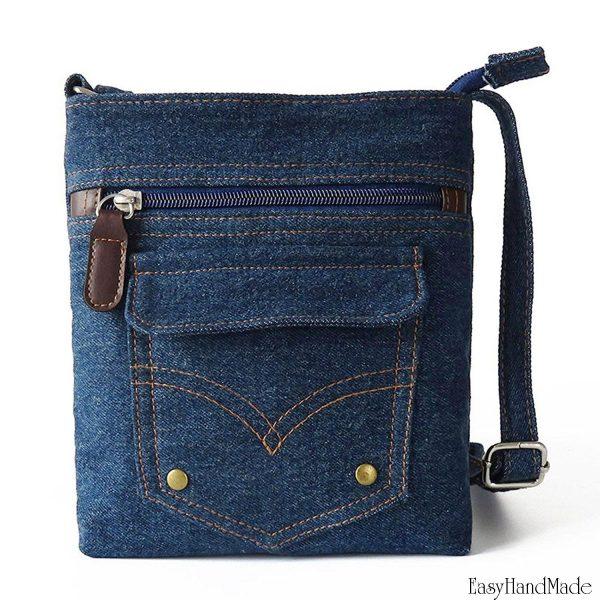 Мужская сумка из старых джинсов