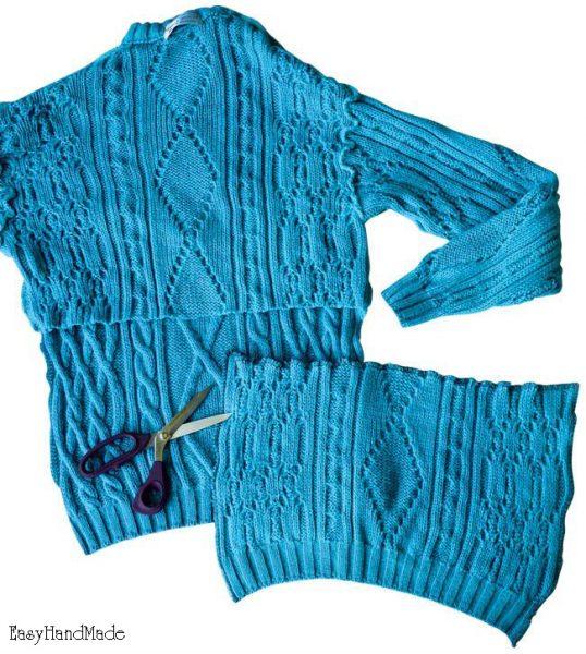 Процесс изготовления снуда из старого свитера