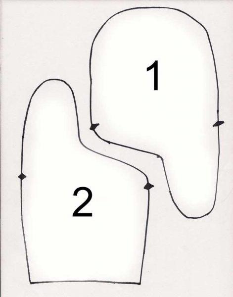 Викройка варежки