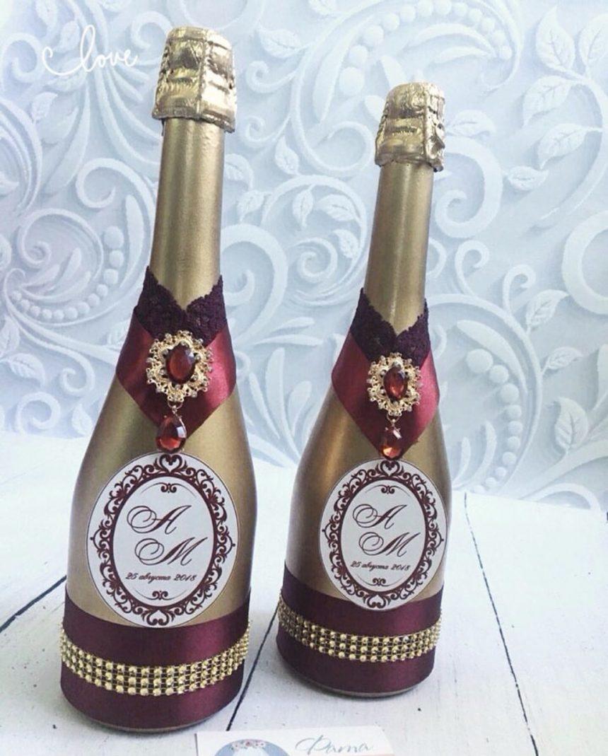 Идеи как украсить бутылку шампанского