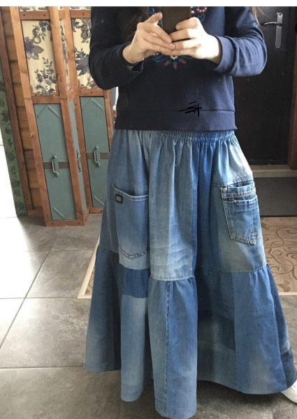 Джинсовая юбка бохо своими руками