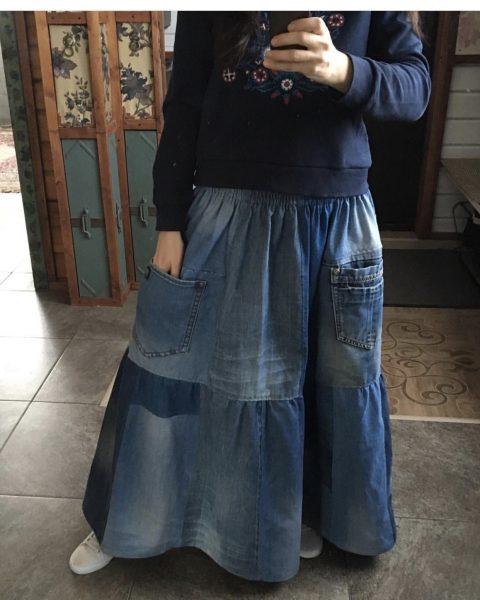 Как сделать юбку бохо своими руками из джинсов