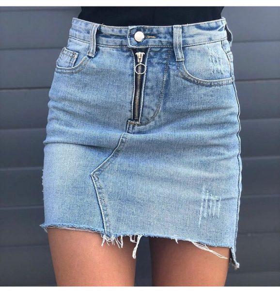 Як переробити джинси в спідницю