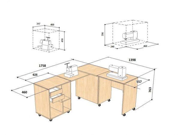 Креслення стола для швейної машини