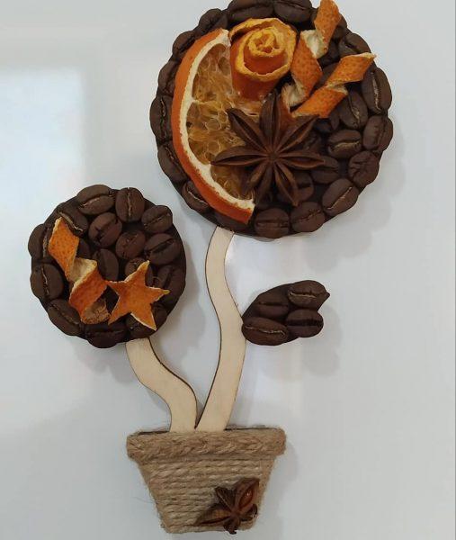 Топіарій магніт з кавових зерен